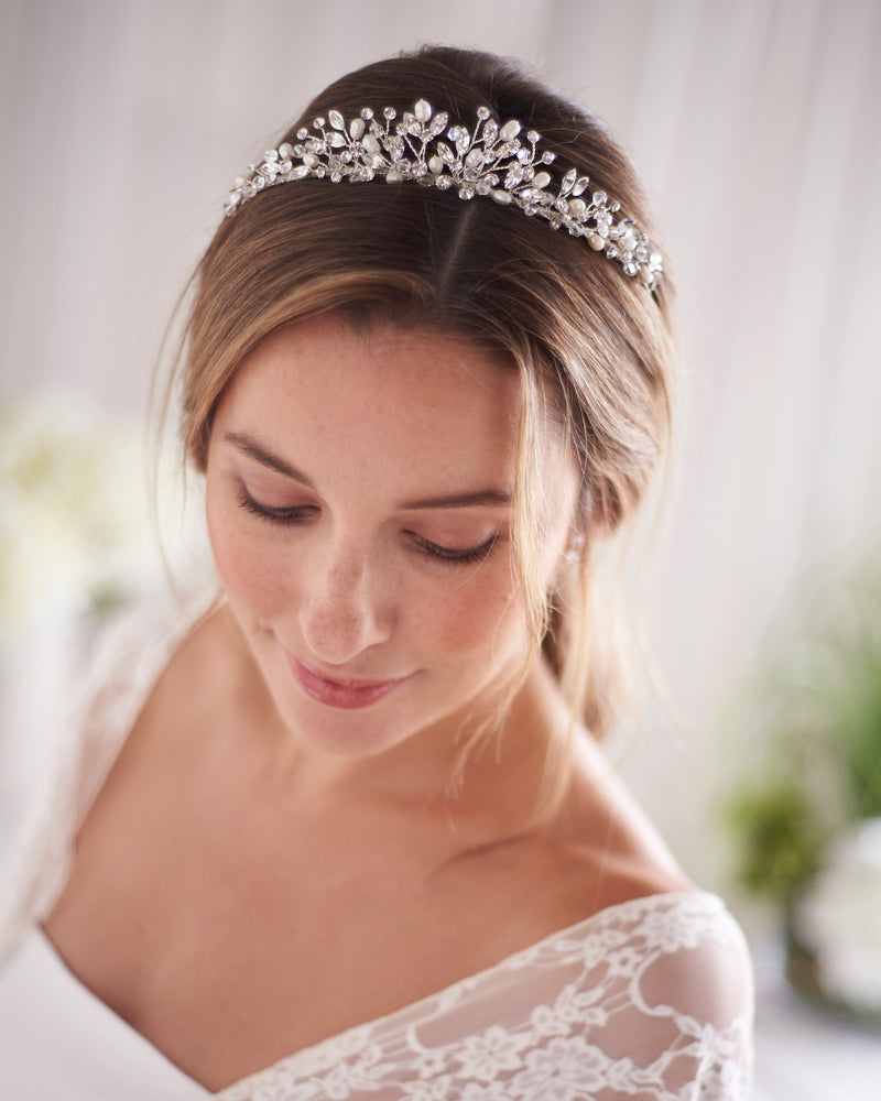 Silver Crystal & Freshwater Pearl Wedding Headpiece