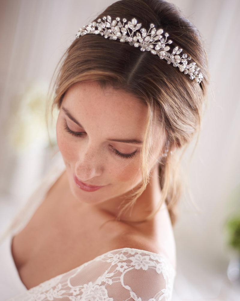 Crystal & Freshwater Pearl Wedding Day Headpiece