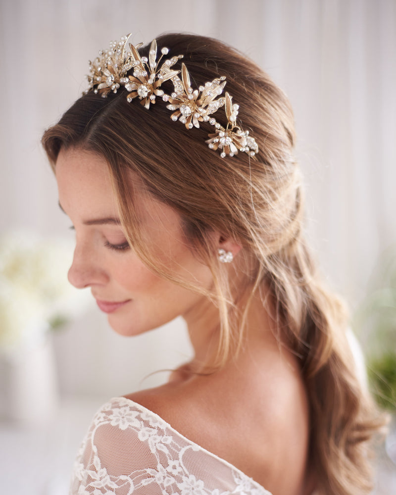 Gold Floral & Crystal Bridal Crown