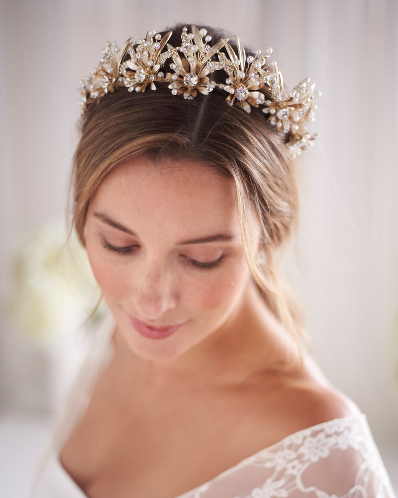 Gold Floral & Crystal Bridal Tiara