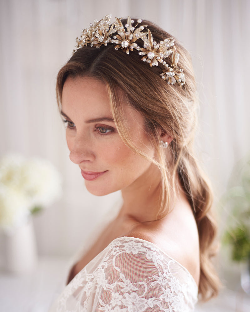 Gold Floral & Pearl Wedding Crown
