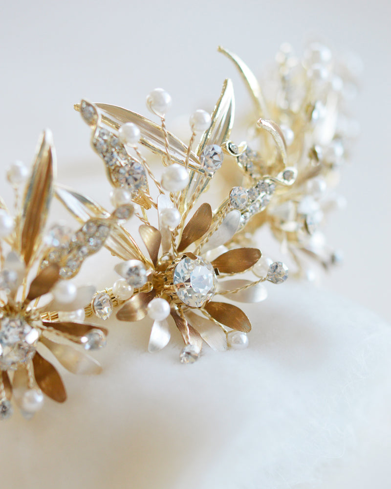 Gold Crystal & Floral Wedding Day Crown