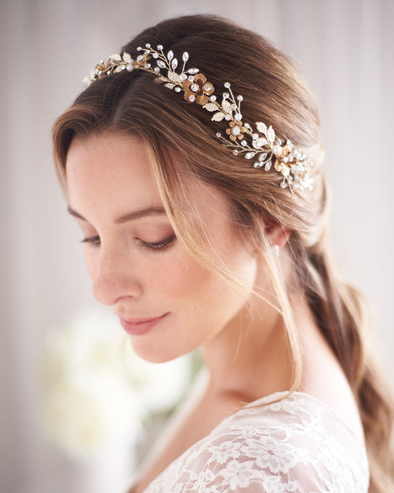 Gold Floral Wedding Day Headband