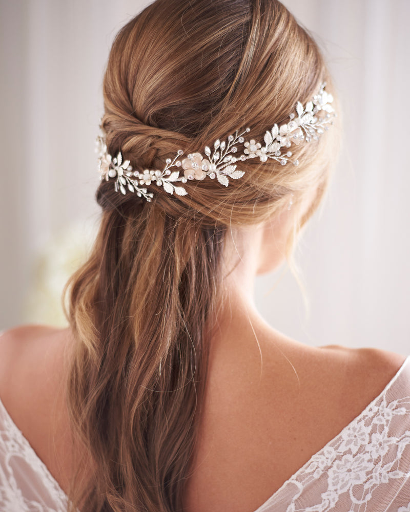 Silver Floral Pearl Wedding Headpiece