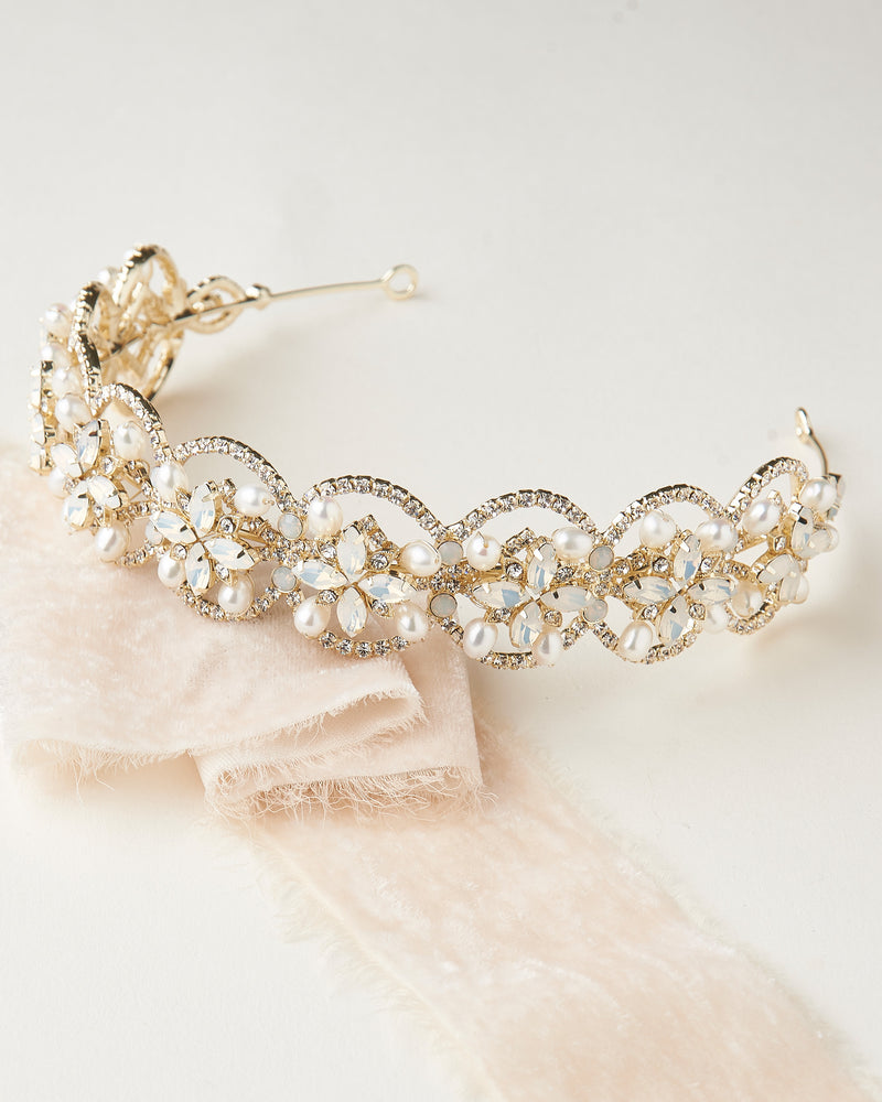 Gold Opal & Pearl Bridal Headpiece