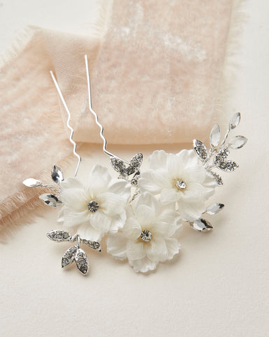 Abbey Floral & Crystal Hair Pin