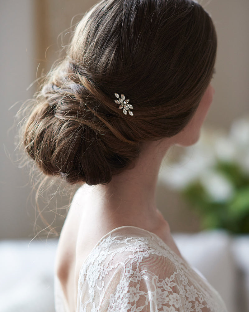 Silver Crystal Bridal Hair Pin Accessory