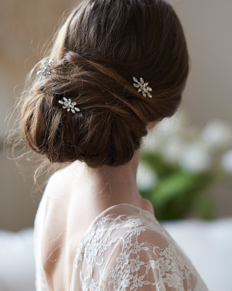Silver Crystal Bridal Wedding Hair Pin