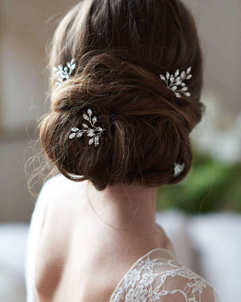 Silver Crystal Gemstone Bridal Hair Pin