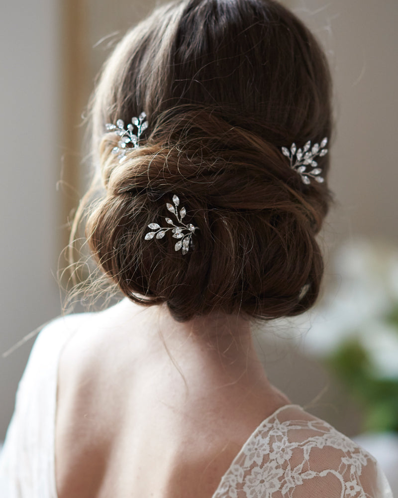 Genuine Crystal Gemstone Bridal Hair Pins