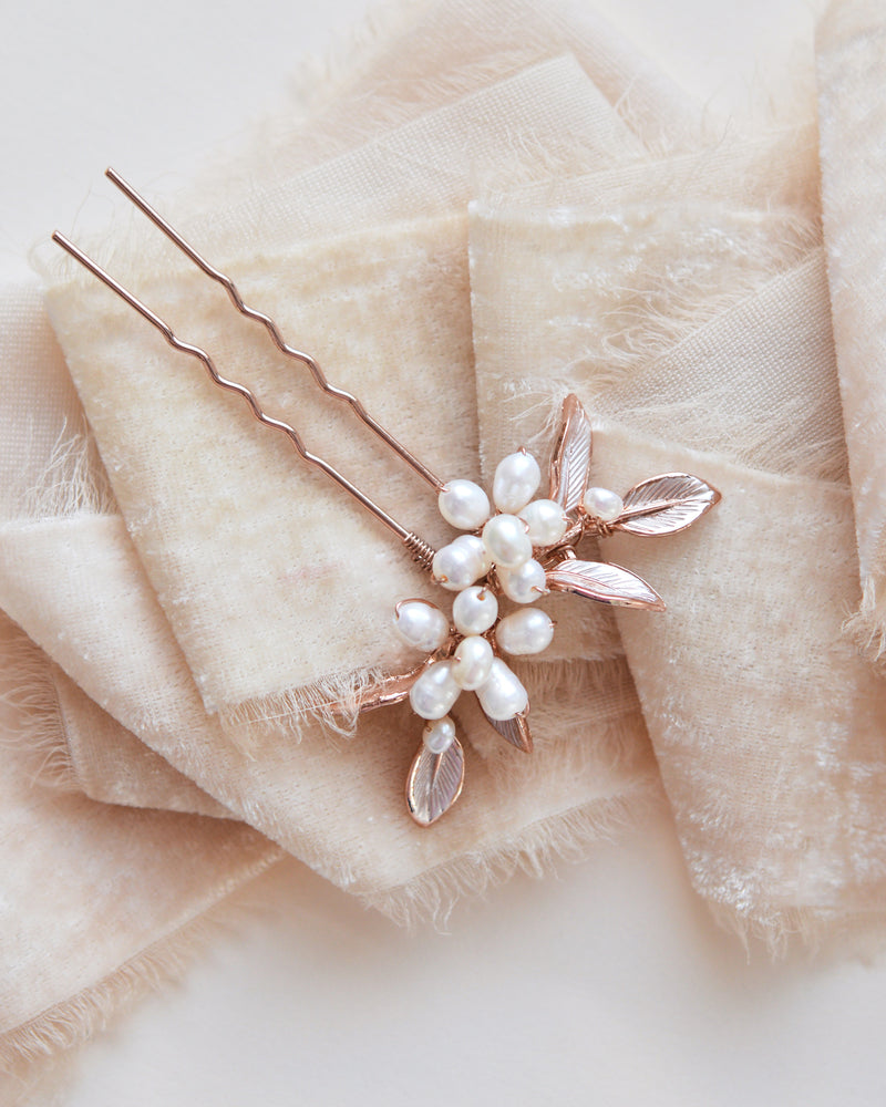 Rose Gold Hair Pins with Pearls