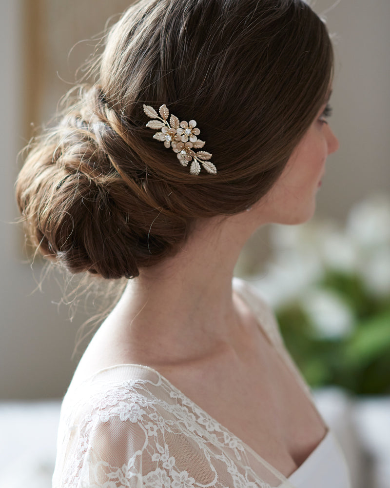 Gold Floral Bridal Wedding Hair Pin