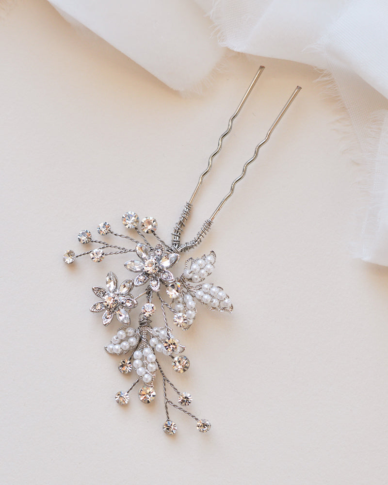 Pearl and Crystal Silver Vintage Bridal Hair Pin