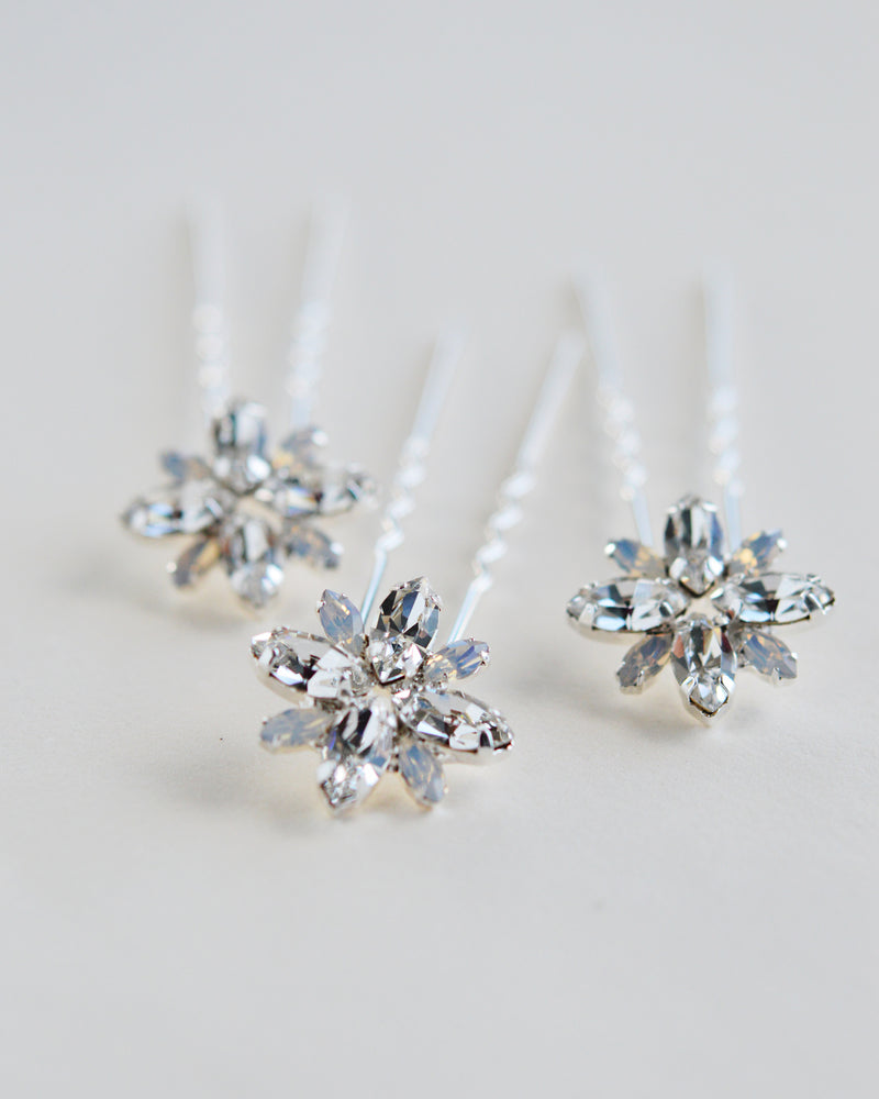 Silver Crystal & Opal Wedding Day Hair Pins