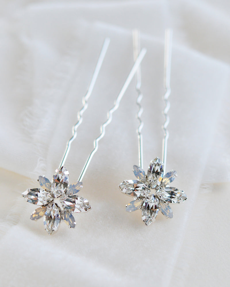Silver Crystal & Opal Gemstone Bridal Hair Pins