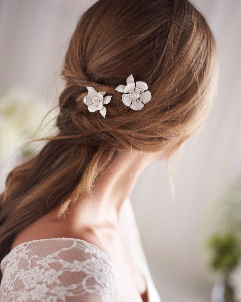Silver Floral Wedding Day Hair Pins for Bride