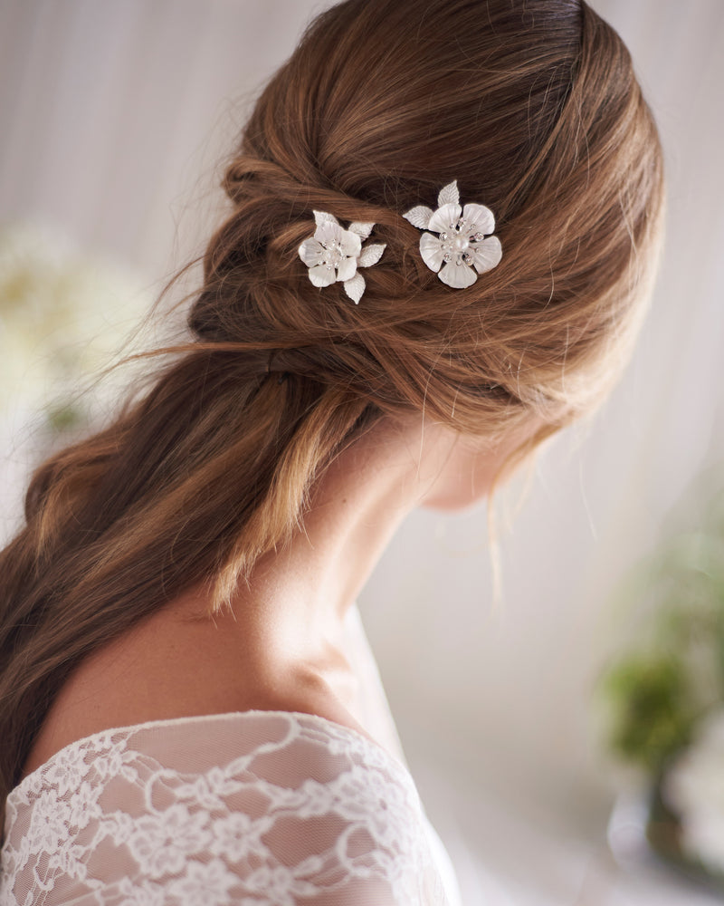 Silver Floral Wedding Hair Pins