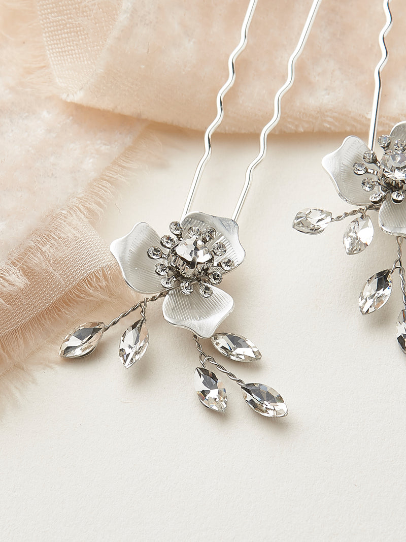 Silver Crystal Wedding Hair Pins