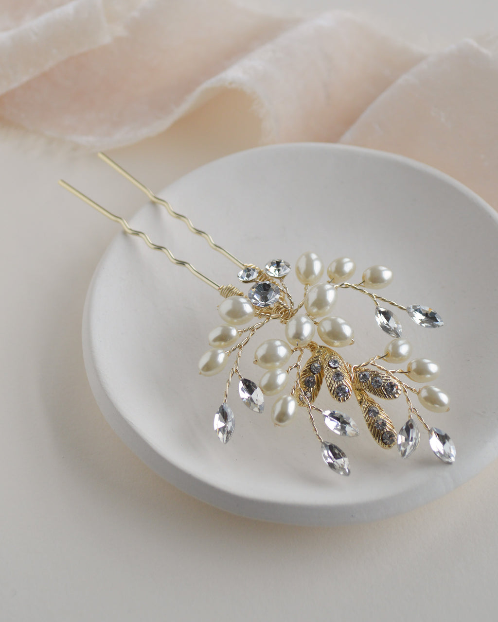 Gold Freshwater Pearl & Crystal Floral Wedding Hair Pin