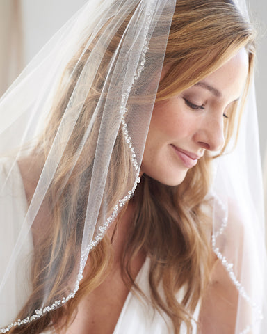 Cut Edge Wedding Veil with Blusher