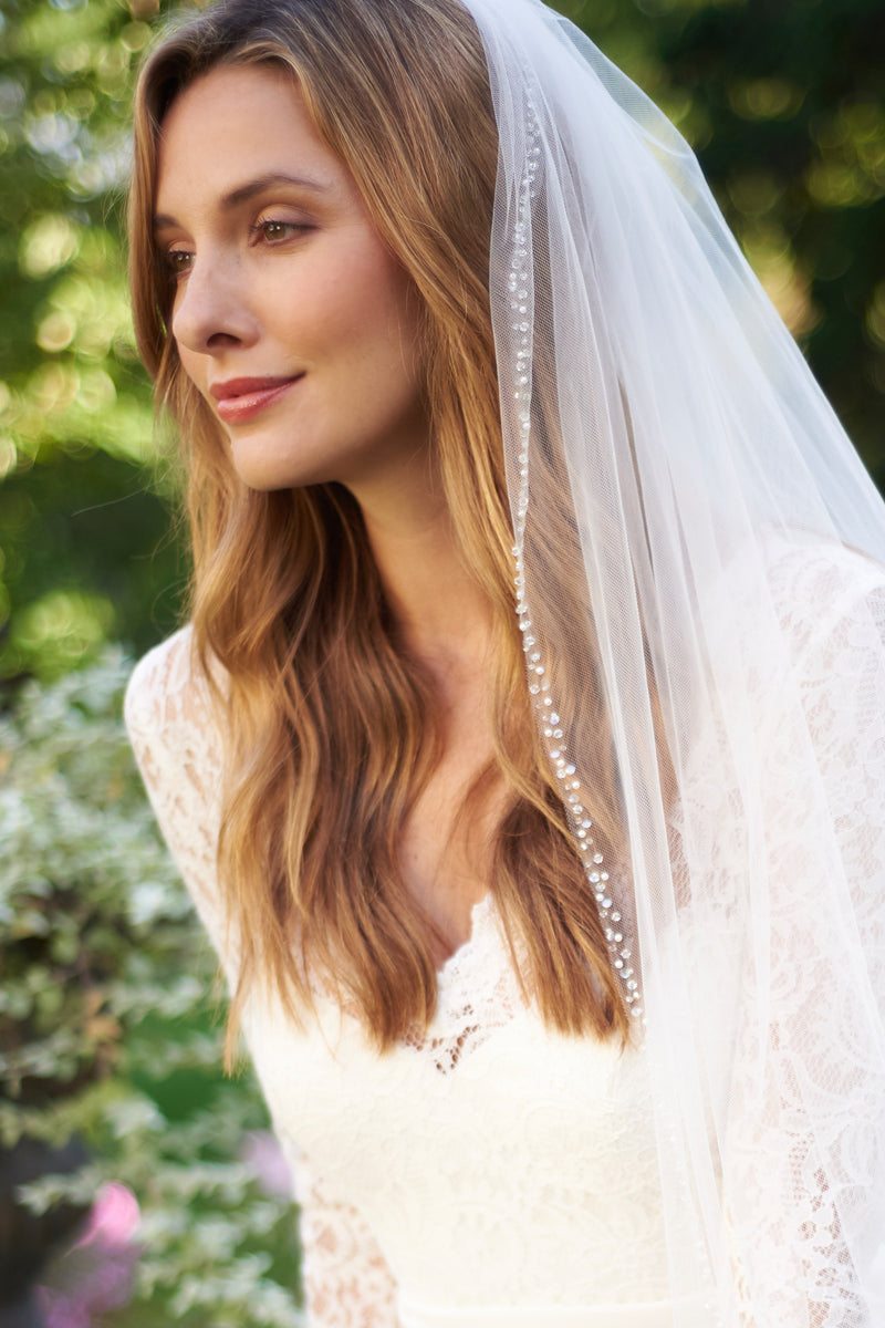 Mariah Pearl & Crystal Beaded Cathedral Veil