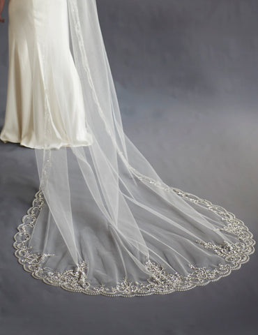 Claudia Lace & Beaded Bridal Cathedral Veil