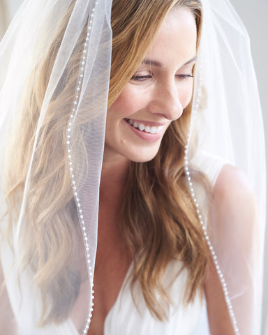 Metallic Silver or Gold Pencil Edge Bridal Veil