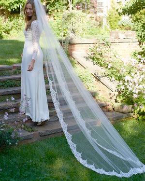 Lace Beaded Cathedral Veil