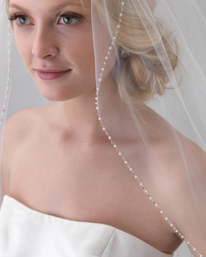 Blush Pink & Pearl Edge Veil   Shop Wedding Veils | USABride