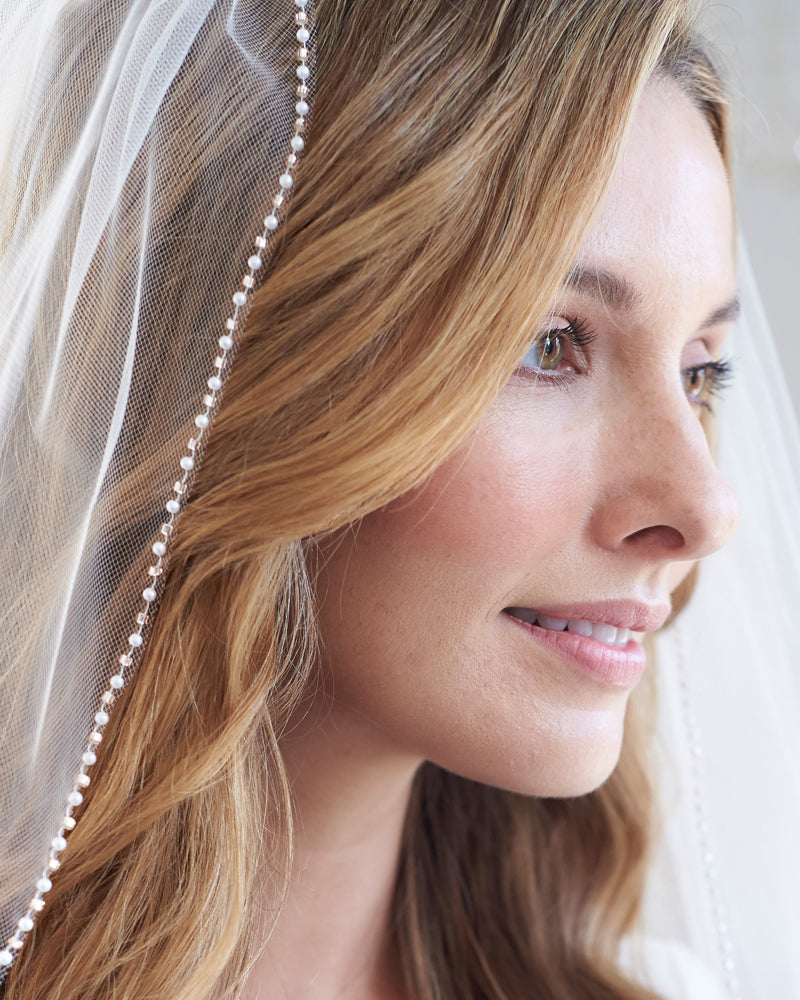 Blush Pink & Pearl Wedding Veil