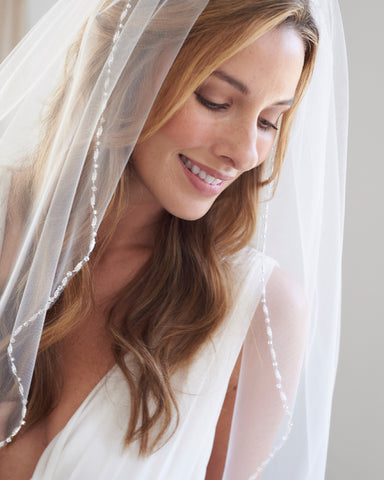Simple Pearl Edge Wedding Veil