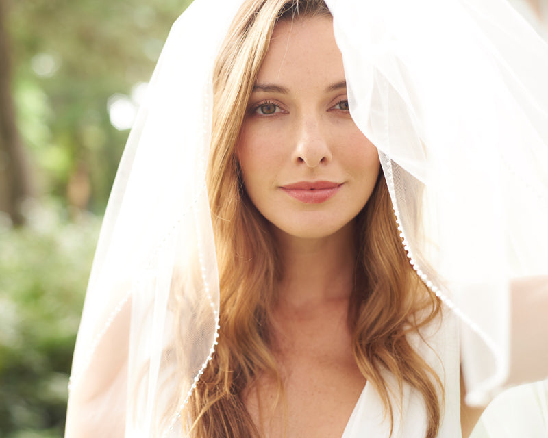 Simple Pearl Beaded Veil