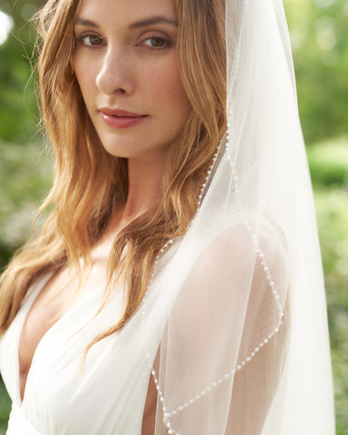 Mariah Pearl Beaded Edge Cathedral Veil with Blusher