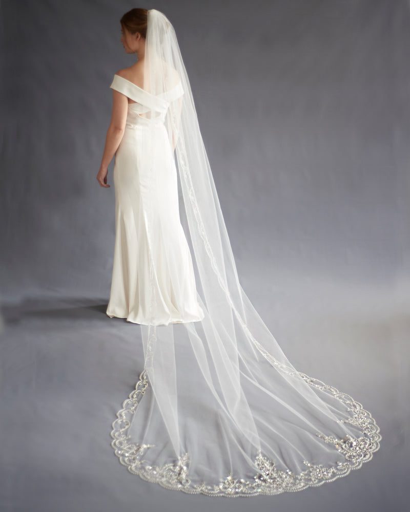 Extravagance Crystal Beaded Cathedral Veil