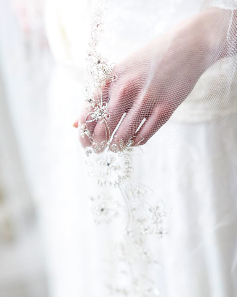 Beaded Ivory Cathedral Bridal Veil