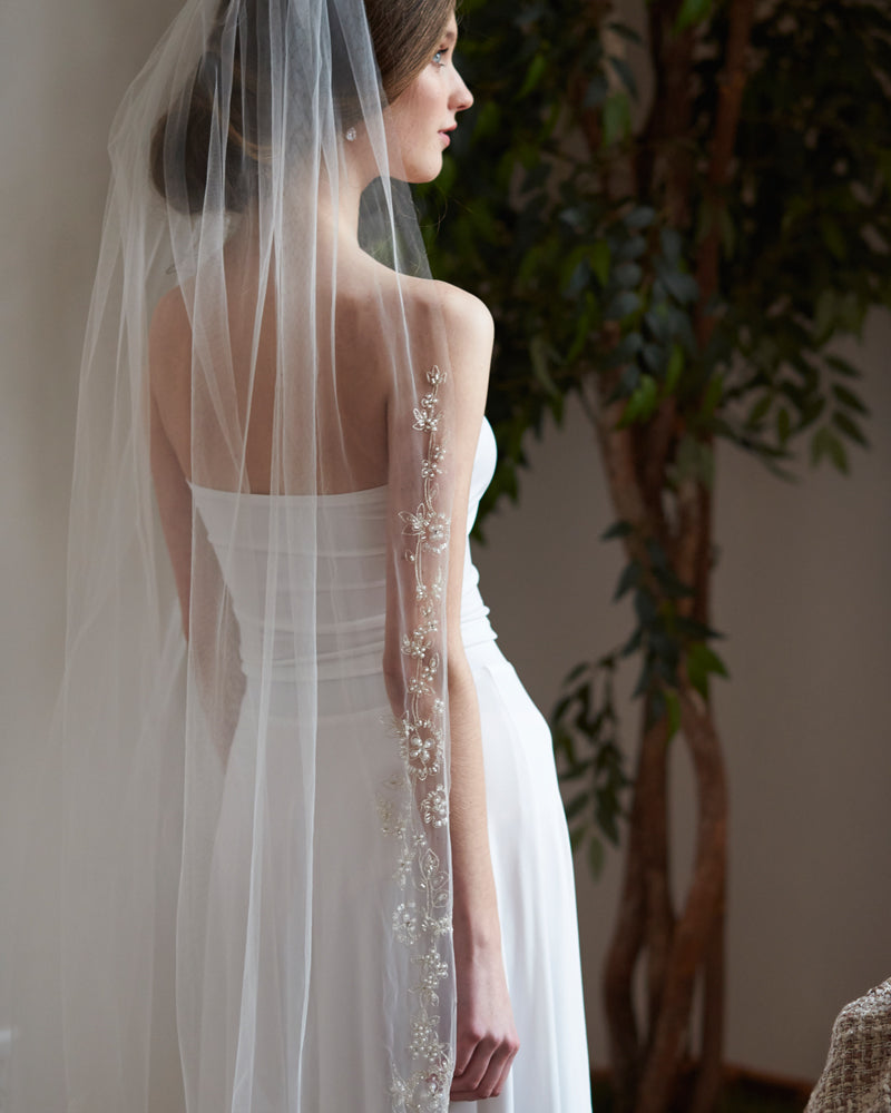 Beaded Ivory Cathedral Wedding Veil