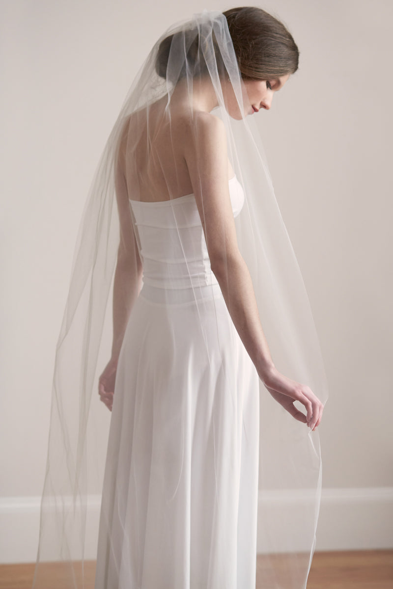 Simple Cut Edge Bridal Wedding Veil