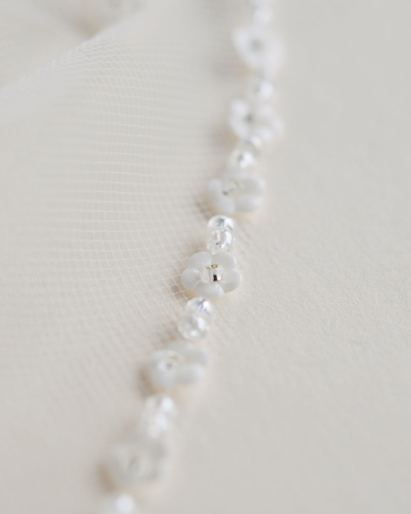 Floral & Beaded Edge Bridal Veil