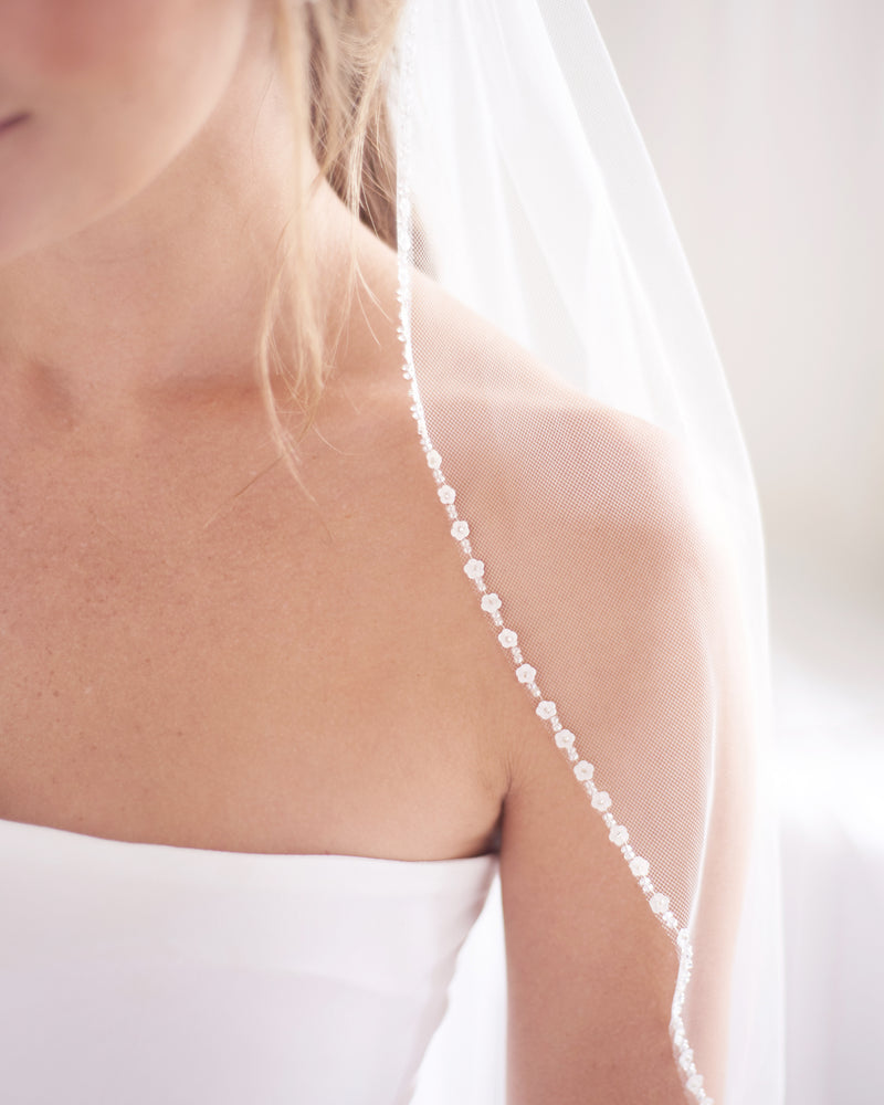 Ivory Beaded Edge Wedding Veil