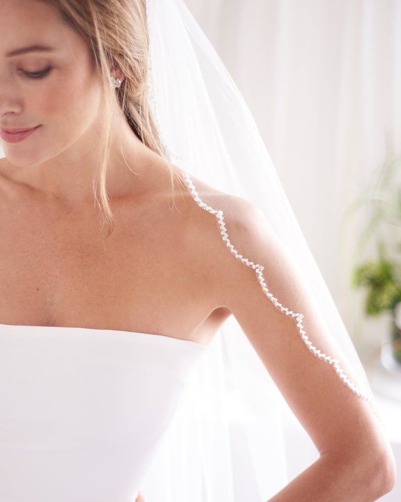 Scalloped Wedding Veil with Beaded Edge