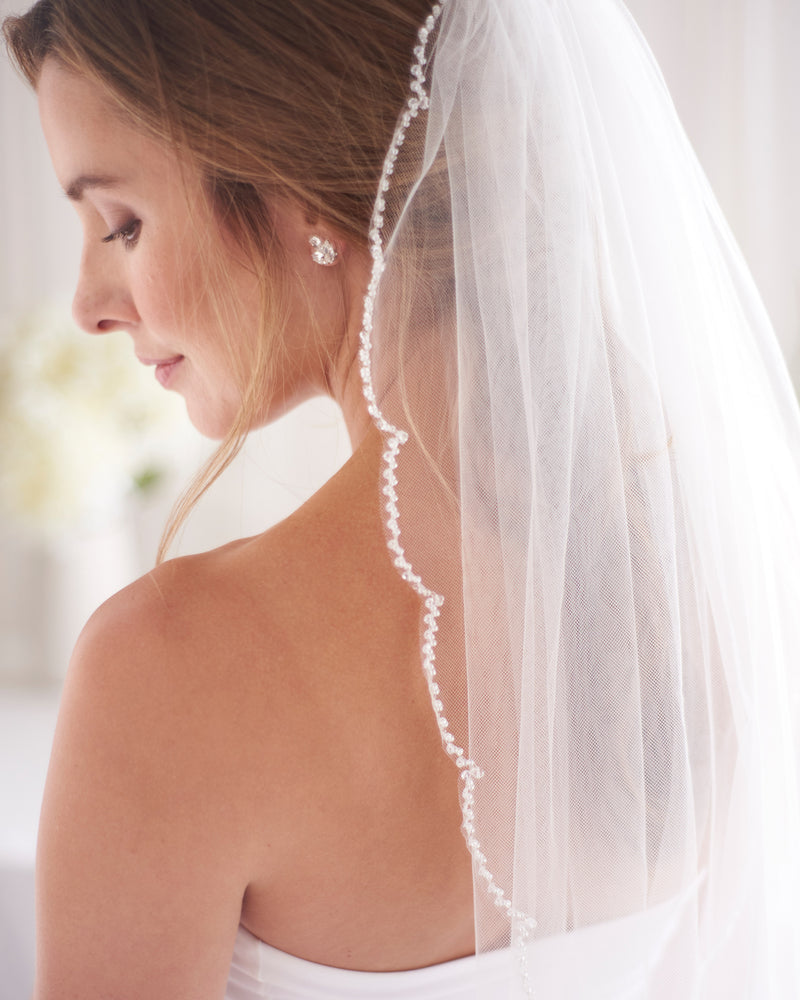 Beaded Scallop Edge Ivory Bridal Veil