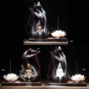 1 PC Incense Burner Bergamot Lotus Vintage Line Glaze Buddha Incense Censer Ceramic Aromatherapy Smoke Backflow Plate