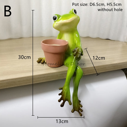 1pc Original Design Cute Resin Frog Flower Pot Succulent Plants Pots Hydroponics Flower Pot Home Garden Desktop Decoration