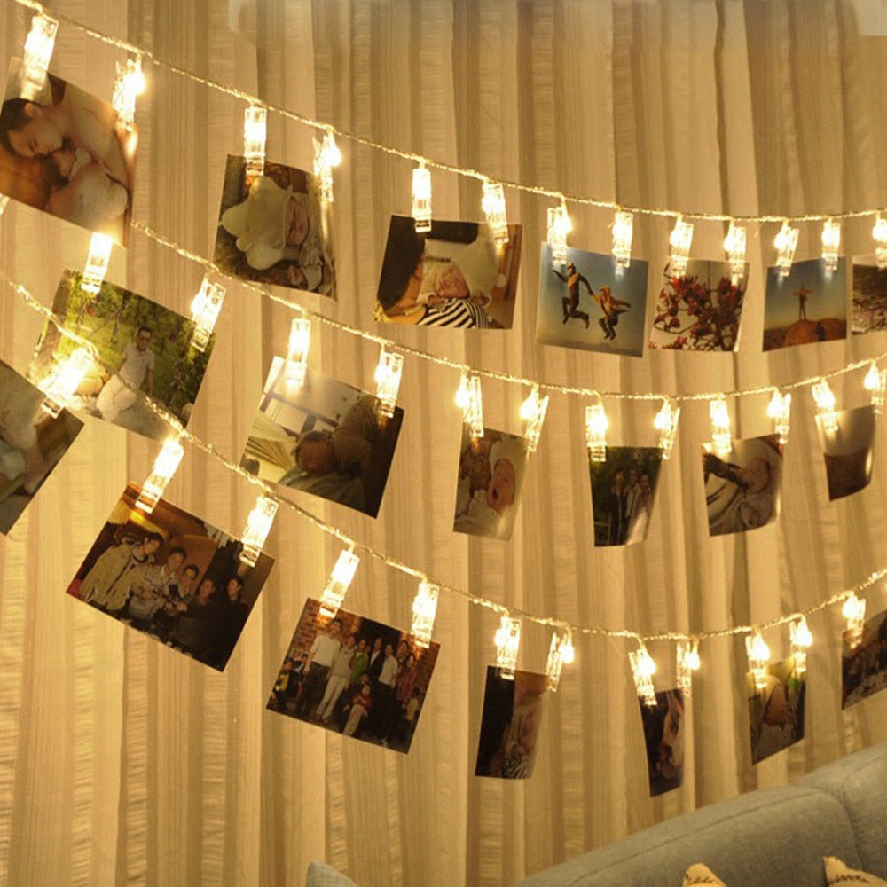 20 USB Charging LED Window Curtain Lights String Photo Clip Lamp House Party Decor Striking