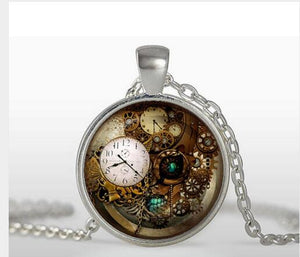 2017 Wholesale Fine Jewelry Steampunk clock pendant Clock Quarts Necklace Dinosaur pendant Steam punk   A-026-4 HZ1