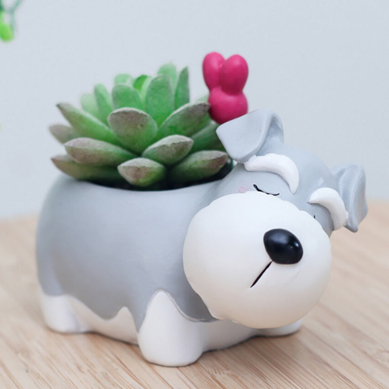 2018 Creative cartoon pet dog natural resin flower pot Cute sleeping animals potted gift Meat planting