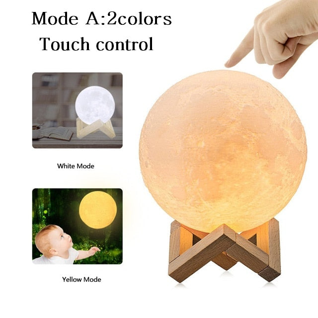3D Print Moon Lamp Rechargeable Night Light RGB Color Change Touch Switch Bedroom 3D lunar Moon Lamp Home Decor Creative Gift