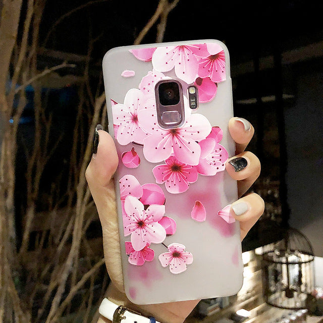 3D Relief Flower TPU Phone Case for Samsung Galaxy A6 A8 J4 J6 2018 S9 S8 S7 S6 edge J3 J5 J7 A3 A5 2016 2017 Soft Silicone Case