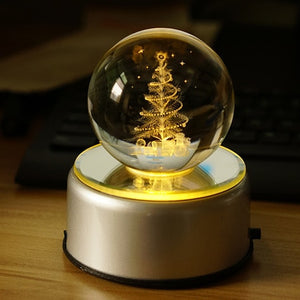 3D Rotation Crystal Ball Night Light Rotate Glass Ball LED Table Lamps Christmas Tree Elk Dandelion Moon Lamp Lights Decoration
