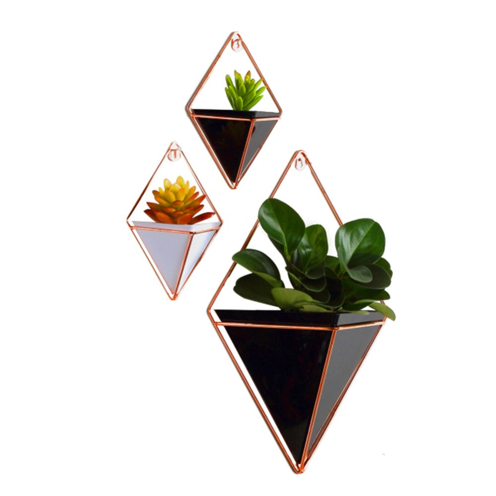 Acrylic flower Pot + Iron Plant Holders Set Indoor Hanging Planter Geometric Vase Wall Decor Container Succulents Plant Pots